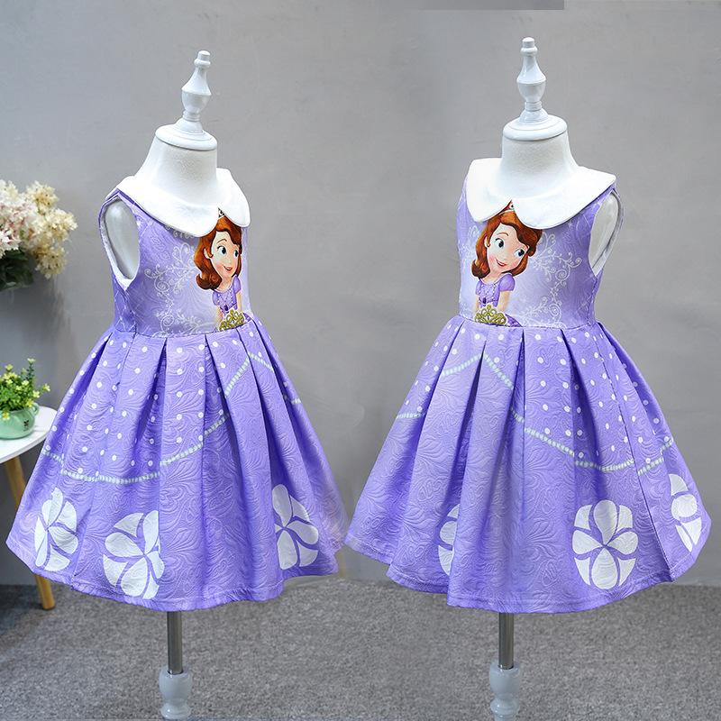 Printed ice and snow princess dress Sophia dress sleeveless vest childrens skirt Sofia skirt