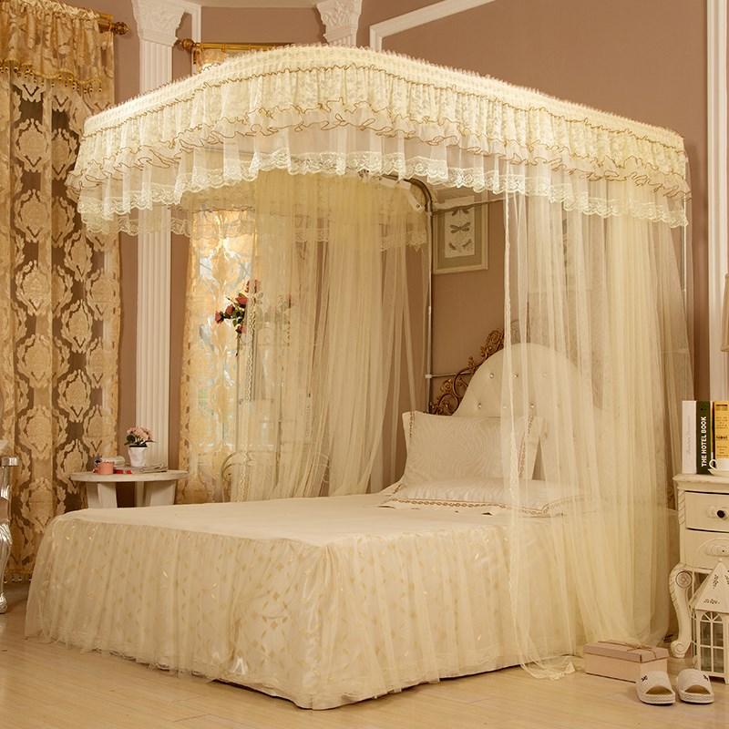 结婚家用婚庆蚊帐1.8m双人床大红色加厚加密三开门2米帐子