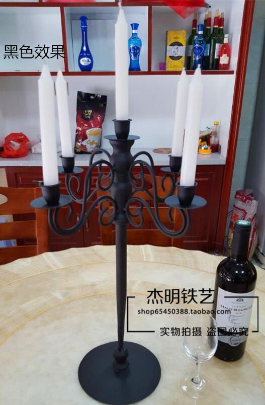 包邮铁艺烛台 欧式蜡烛架五头 餐厅酒店情人节摆件装饰