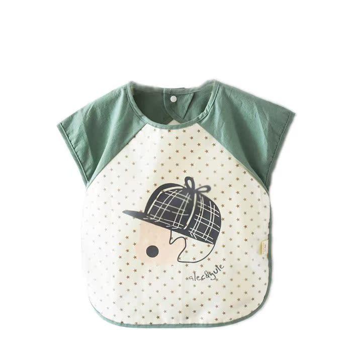 小宝宝小儿喂食半袖系带衣服兜兜围兜围嘴可爱超软新款婴幼儿夏季