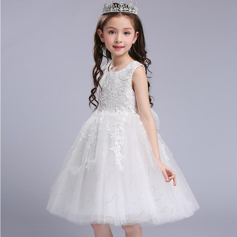 蓬蓬�裙女�和�公主裙花童白色婚��Y服幼��@粉色演出服夏季女孩