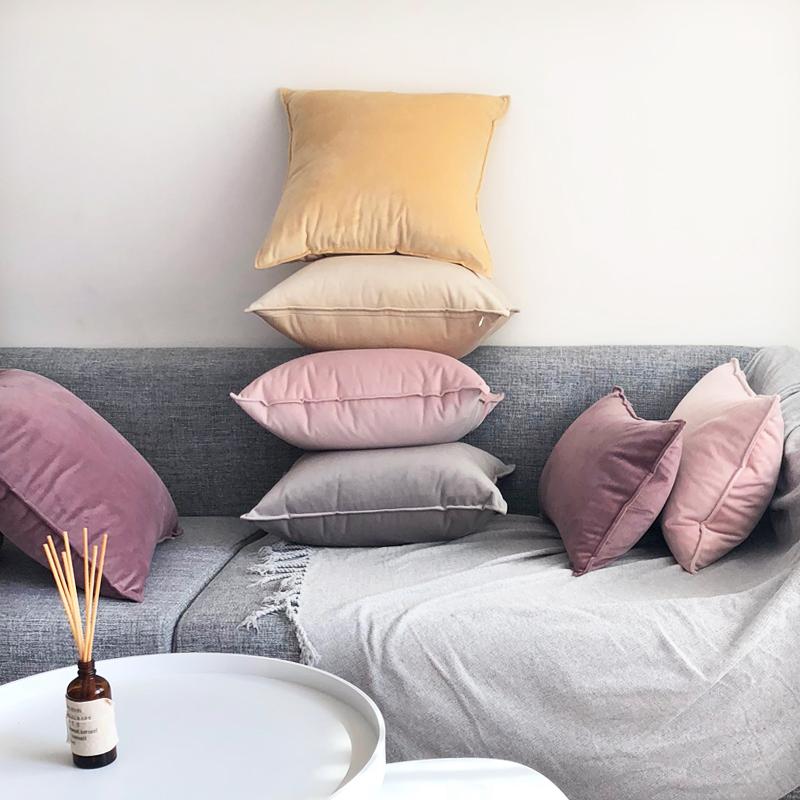 北欧丝绒抱枕靠垫现代简约天鹅绒纯色沙发大抱枕靠背靠枕套可拆洗
