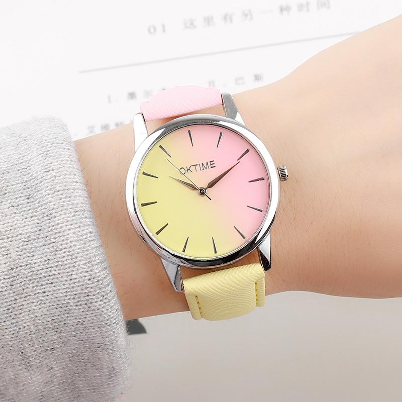 韩版小撞色手表学生石英表渐变色皮带蓝粉潮流女装表时尚可爱清新