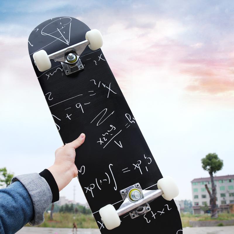 男女上单人男士新款玩直板女黑色简约四便携式长板滑板男生男童轮