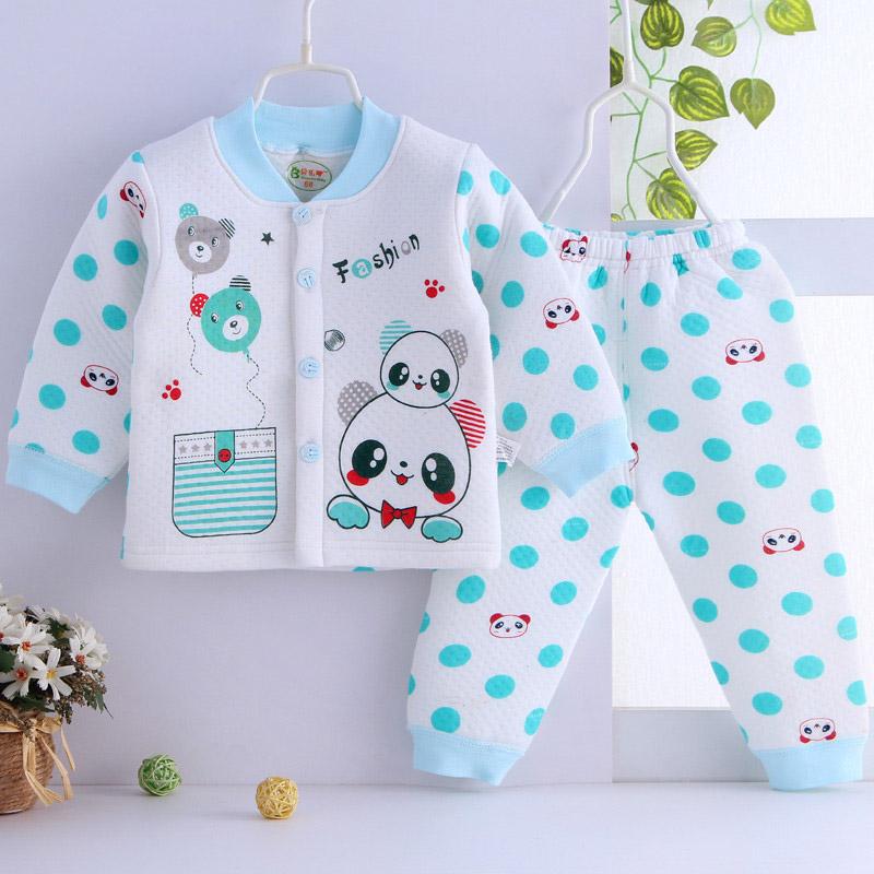 婴儿衣服保暖套装男女宝宝冬季纯棉内衣0-1岁春秋款外出加厚服装