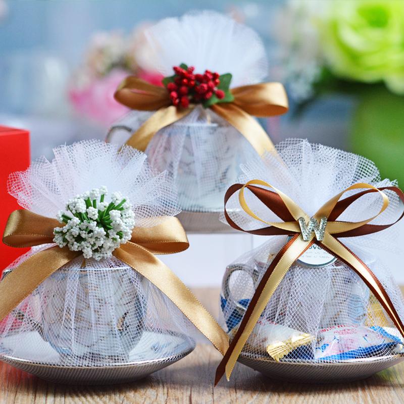 创意欧式森系创意咖啡杯结婚喜糖盒子陶瓷婚礼回礼糖果盒 买10送1