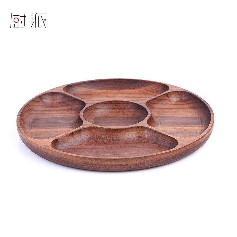 实木分格有盖干果水果盘创意木质家用茶盘酒店木制盘子餐果点心盘
