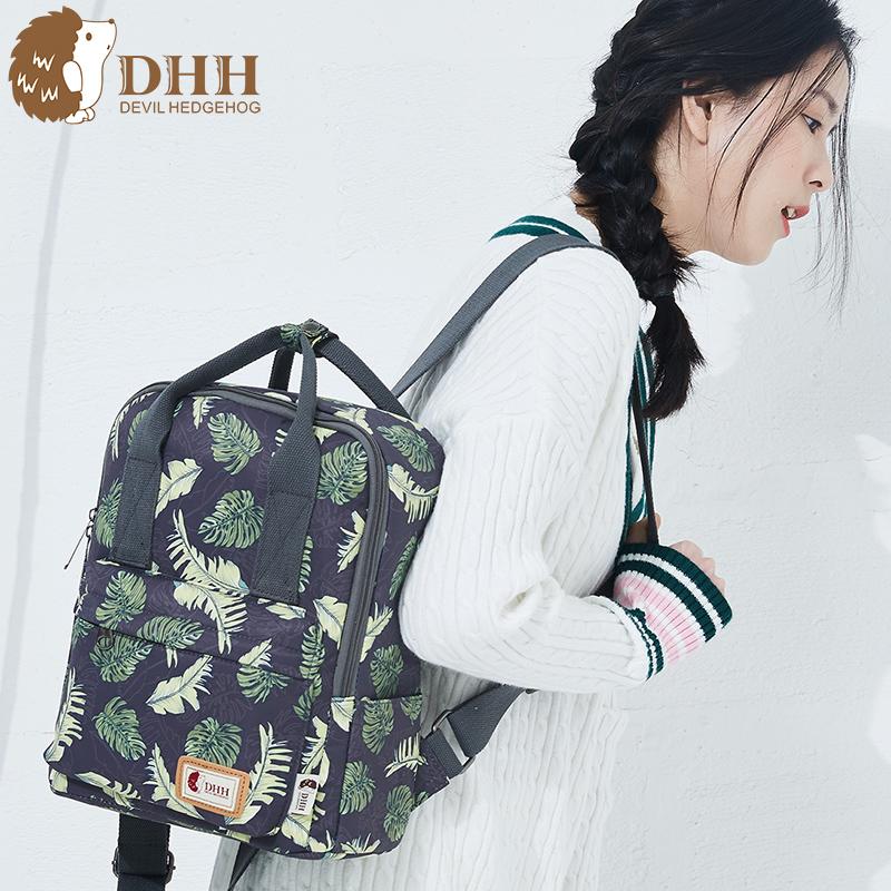 DHH韩版新款原宿风印花帆布双肩包学生背包旅行包潮简约清新书包