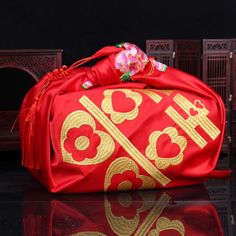 陪嫁新娘喜盆女方中式包裹婚庆皮包袱用品思泽嫁妆婚礼布结婚