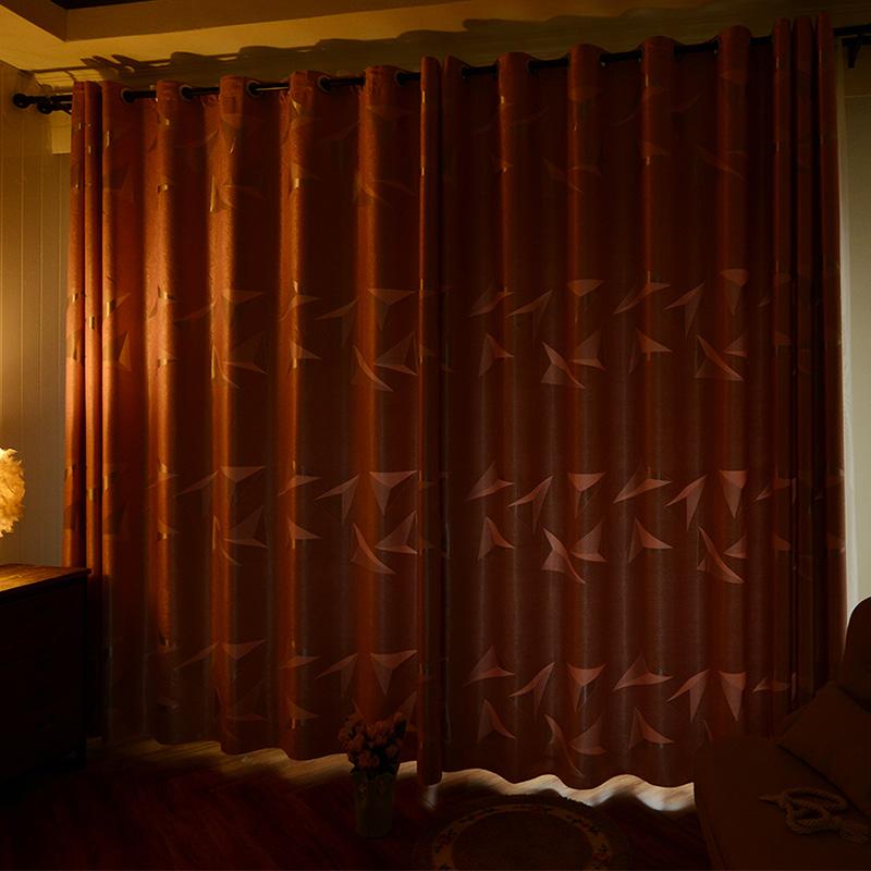 简约现代窗帘成品客厅卧室落地飘窗全遮光布料挂钩布带打孔送绑带