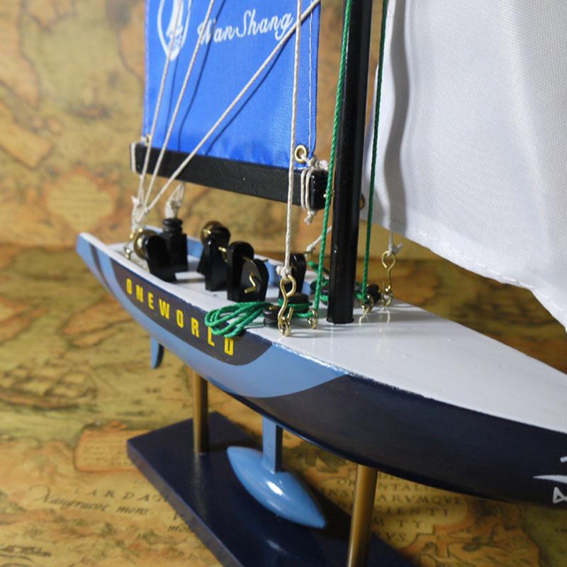 【】木质帆船模型商务礼品-小号闪电号A摆设办公家居装饰