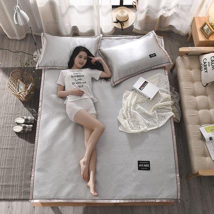 上新冰爽家用床上夏天纯色冰爽凉席三件套 空调 卧室席冰丝席