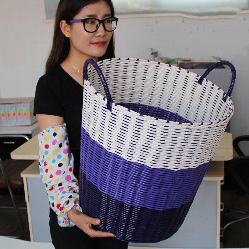 藤编脏衣篮蓝装衣服的盒子塑料编织大号洗衣篓脏衣服收纳筐篮有盖