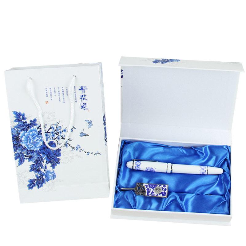 上新青花瓷笔书签套装 中国风礼品送老外特色出国送外国人小礼物