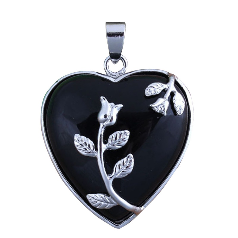 Chic Silver Plated Heart Shape Stone Pendant Jewelry For Nec