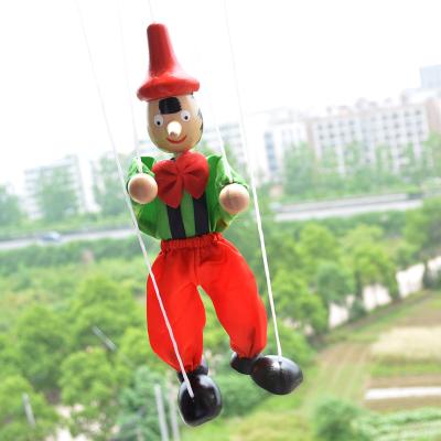 木卡通手人�w木偶人木制木娃娃木�^制作�手工玩具扯�提�木偶
