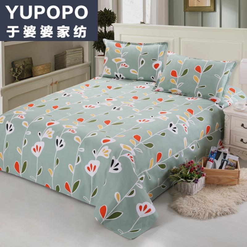 于婆婆 纯棉印花加厚老粗布 单双人床单被单 粗布帆布床单包邮
