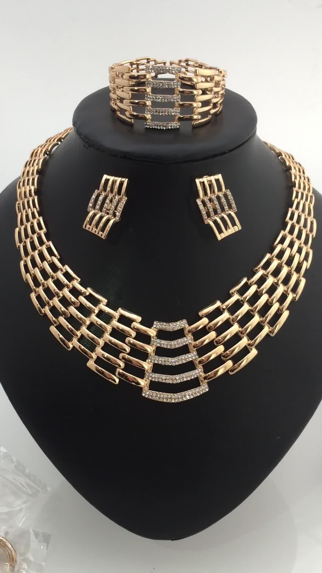 Wholesale African Negerian Women 18k Bridal Wedding Dubai Gold Plated Jewelry Set Girl Necklace
