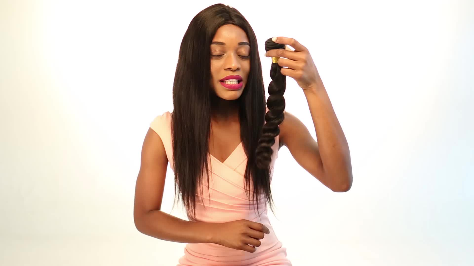 tangle free shedding free natural human hair indian remy hair body weave100g