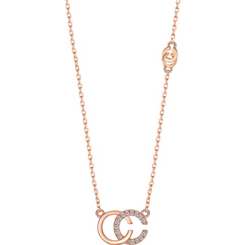 T400双C项链女纯银彩金锁骨链镶施华洛世奇锆潮网红闺蜜生日礼物