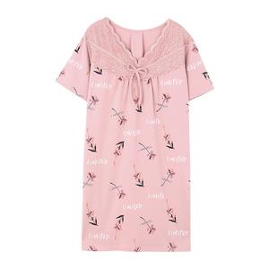 夏季睡裙短袖纯棉宽松中年中裙