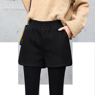 毛呢秋冬季外穿2019新款松紧短裤