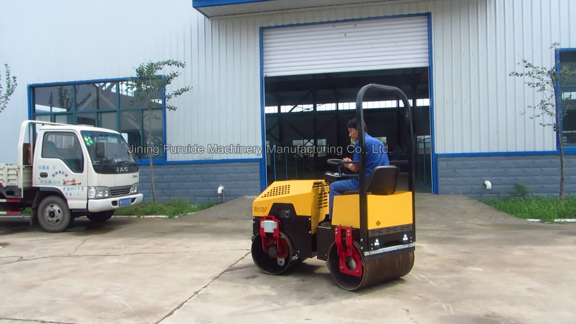 1 Ton Double Drum Mini Ride on Vibratory Roller (FYL-880)