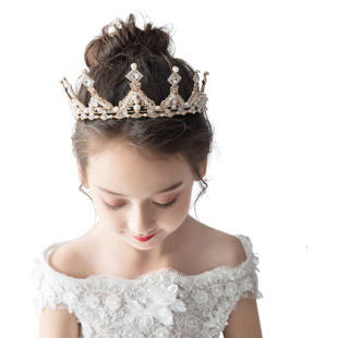 兒童皇冠頭飾公主女童王冠水晶大發箍粉色冰雪奇緣小朋友生日髮飾