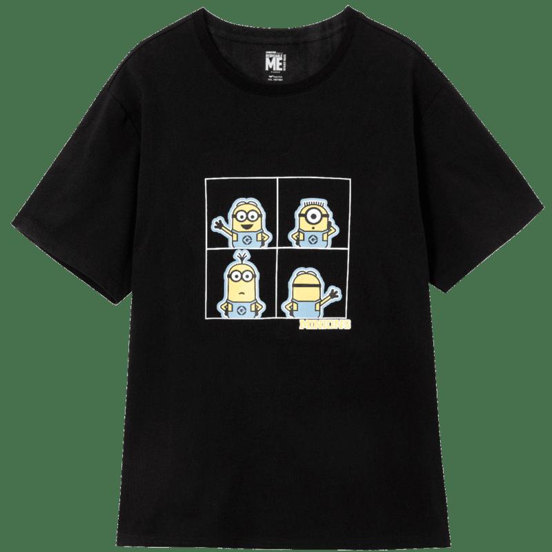 淘宝特价版 快鱼小黄人联名男女呆萌可爱一家三口时尚卡通印花T恤