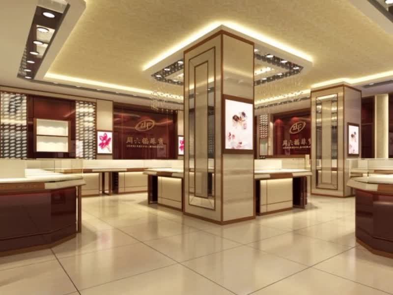 Durable Wood Fittings Shop Decoration Jewellery Shop Floor Plan