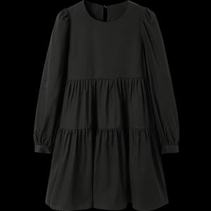 太平鸟黑色宽松2020秋季新款娃娃裙