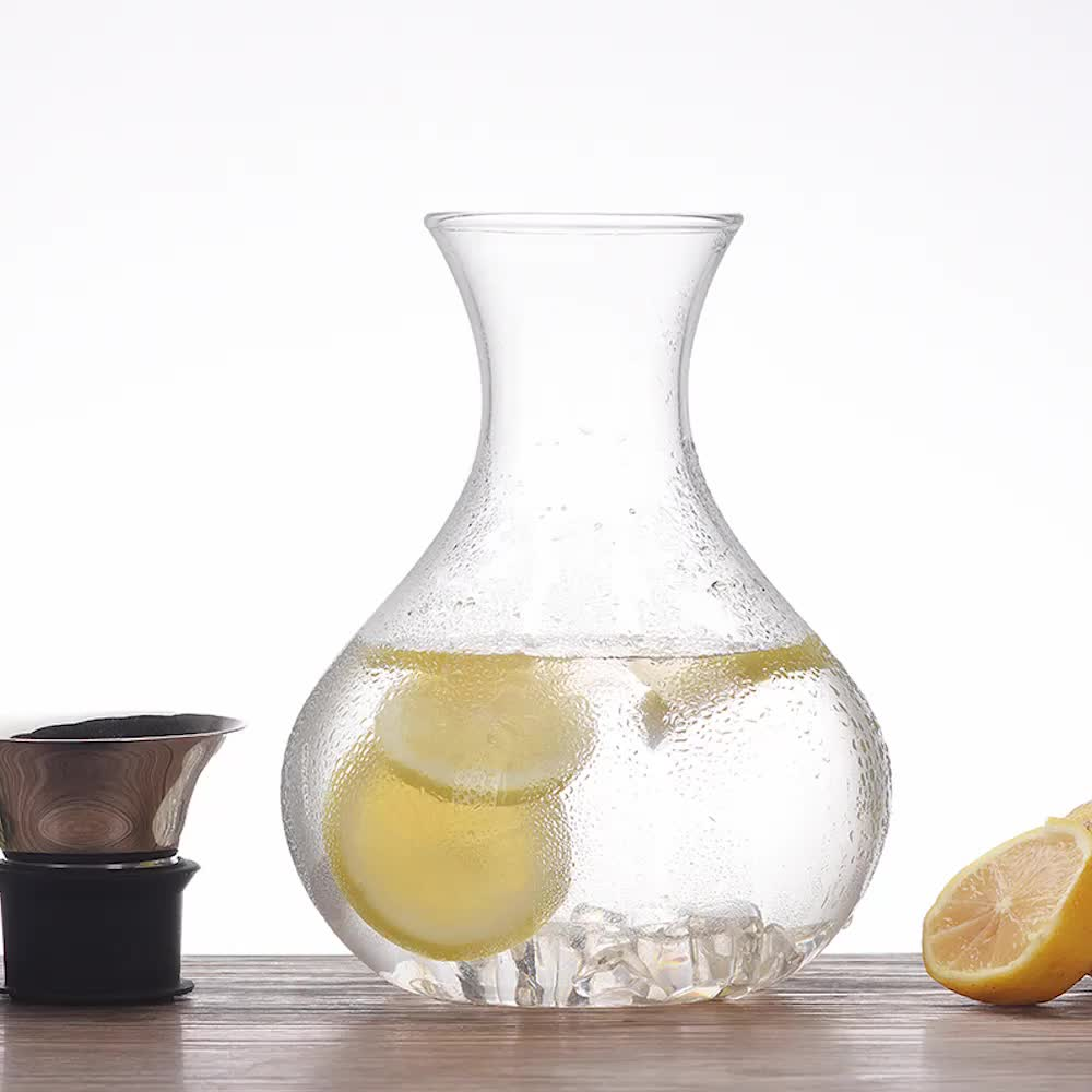 1000ml 1500ml Handmade Heat Resistant Borosilicate Glass Water Pitcher With Silicone Sleeve