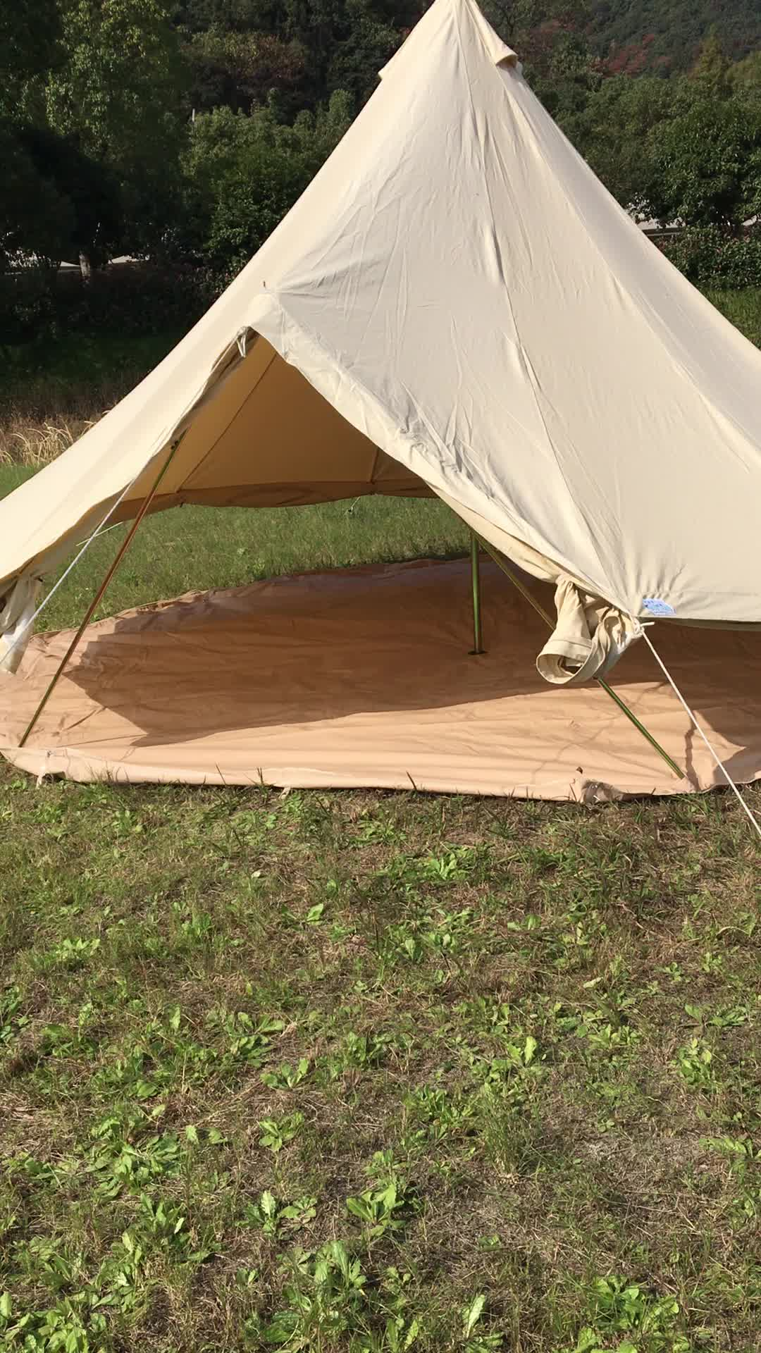 Beige best quality waterproof family camping canvas bell tent with fly tent