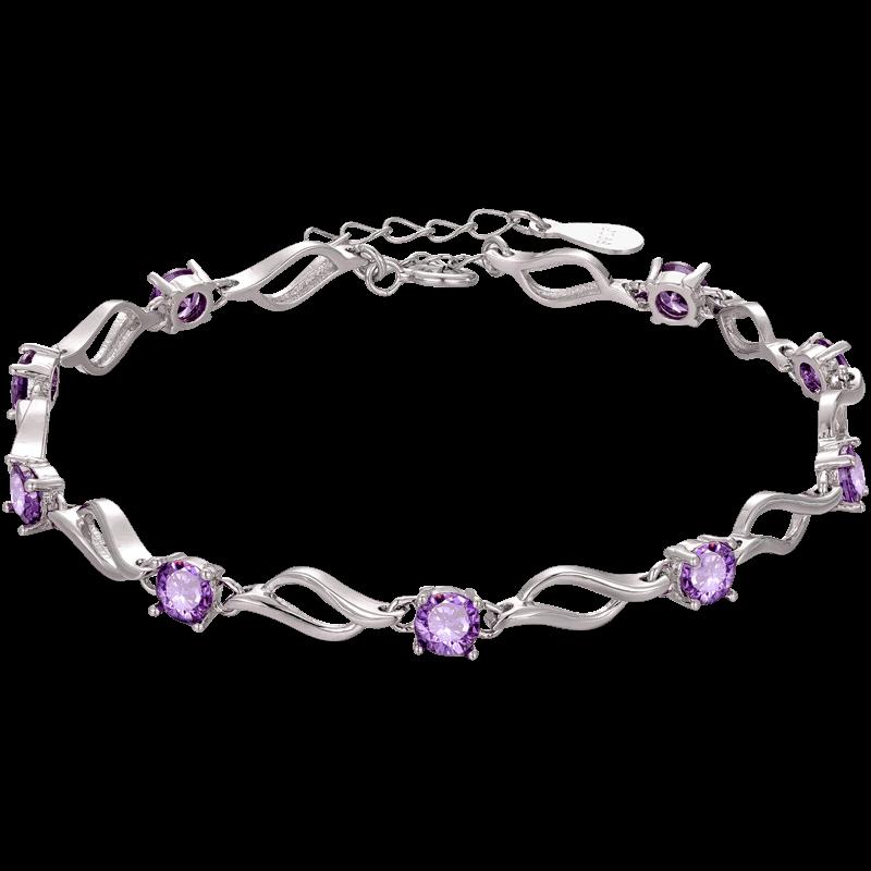 紫水晶情侣手链女纯银礼物一对纪念韩版简约闺蜜手链ins小众设计