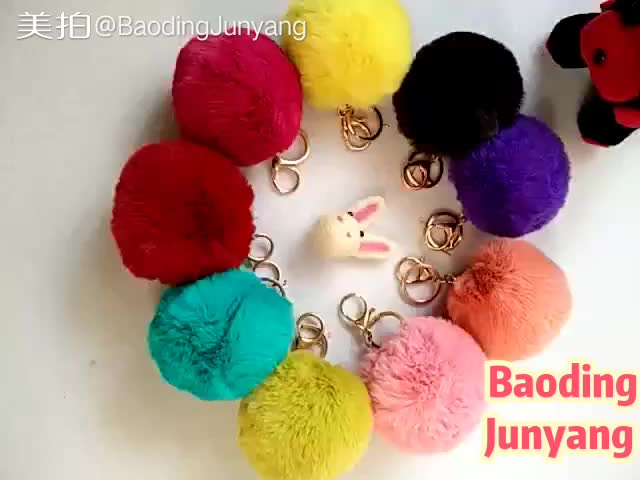 8cm and 9cm rabbit ball keychain pom pom fur accessory
