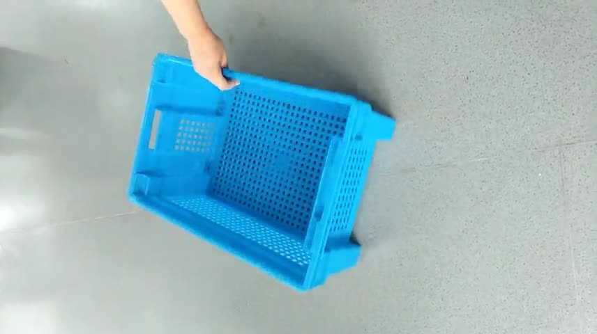 Patent Design Mesh Vented Plastic Fruit Vegetable Crate Turnover Basket