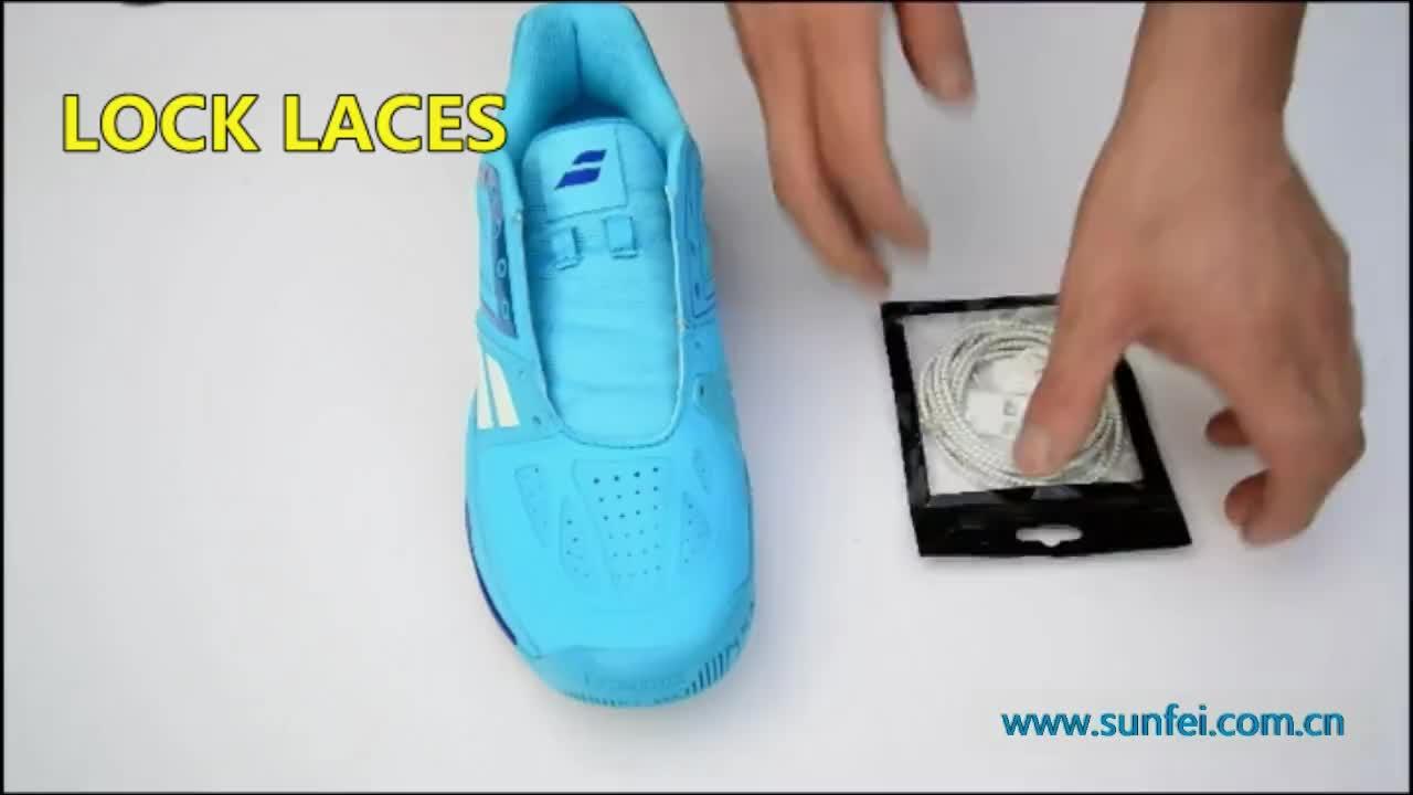 (MOQ: 100pair ) No Tie Shoelaces Lock Laces Reflective Elastic Shoelaces~Amazon Lock Laces Supplier