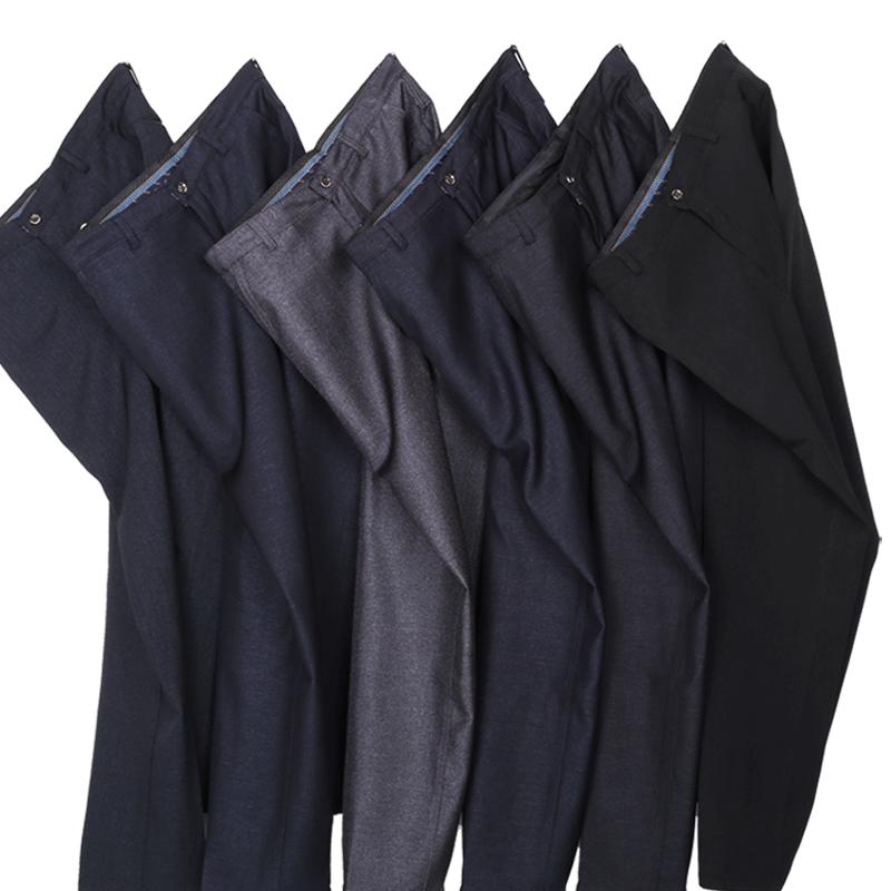 爸爸裤子春秋冬季加绒加厚款男装西裤宽松中年中老年人男士休闲裤