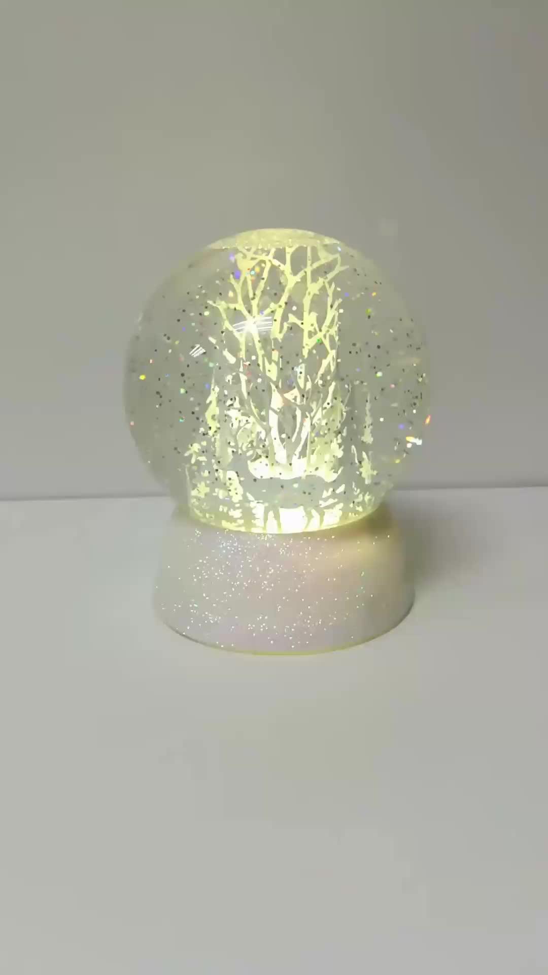 Christmas globe deer decor decorative plastic acrylic lighted snow globe
