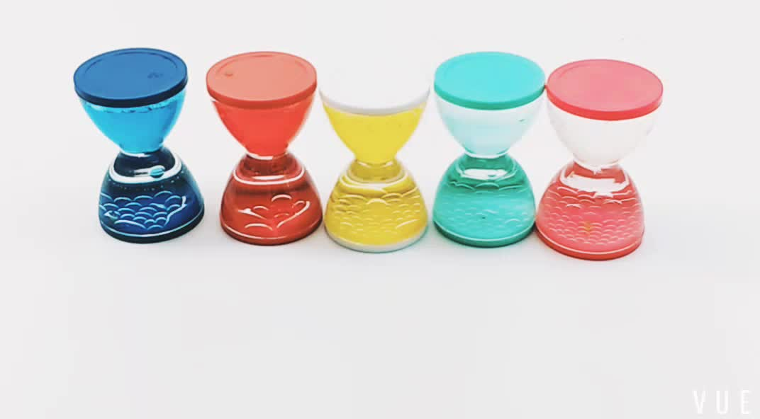 Mini novelty liquid oil drop sand timer blue hourglass for toy