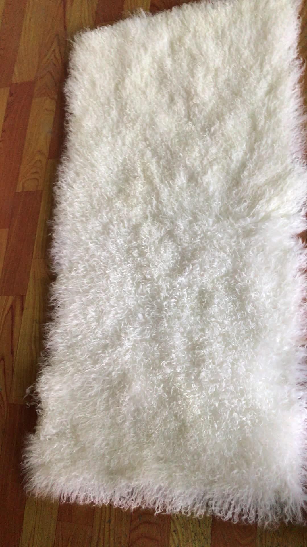 Real Tibetan Lamb Fur Plate Goat Skin Rugs Mongolian Sheep