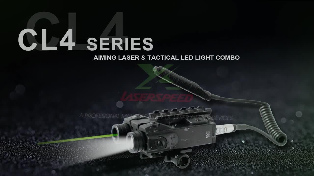 Rifle weapon gun red laser designator sight and military flashlight combo