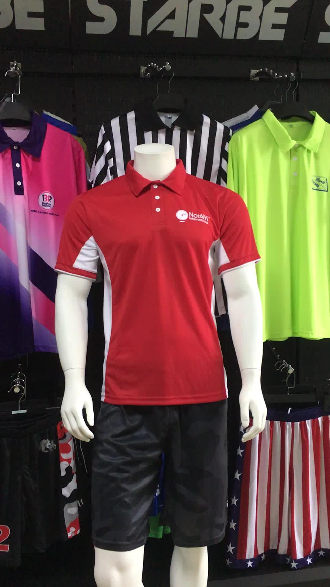 Kundenspezifisches, trocken geschnittenes, besticktes Firmenlogo, rotes Polo-Shirt