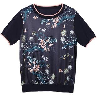 米兰登中老年妈妈装圆领印花T恤短袖女2021年春夏百搭t恤女工艺衫