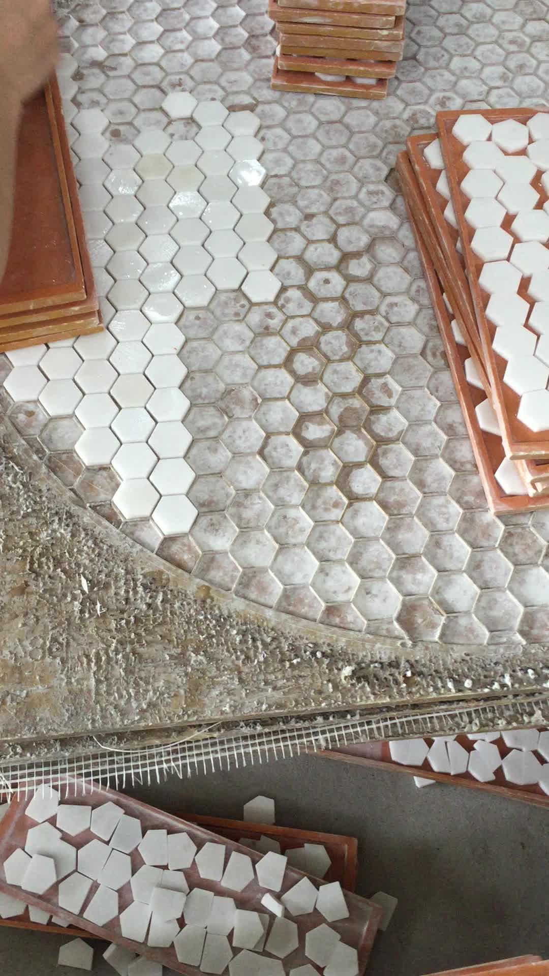 Runde Form Weiss Marmor Sechseck Geformte Mosaik Fliesen Tischplatte