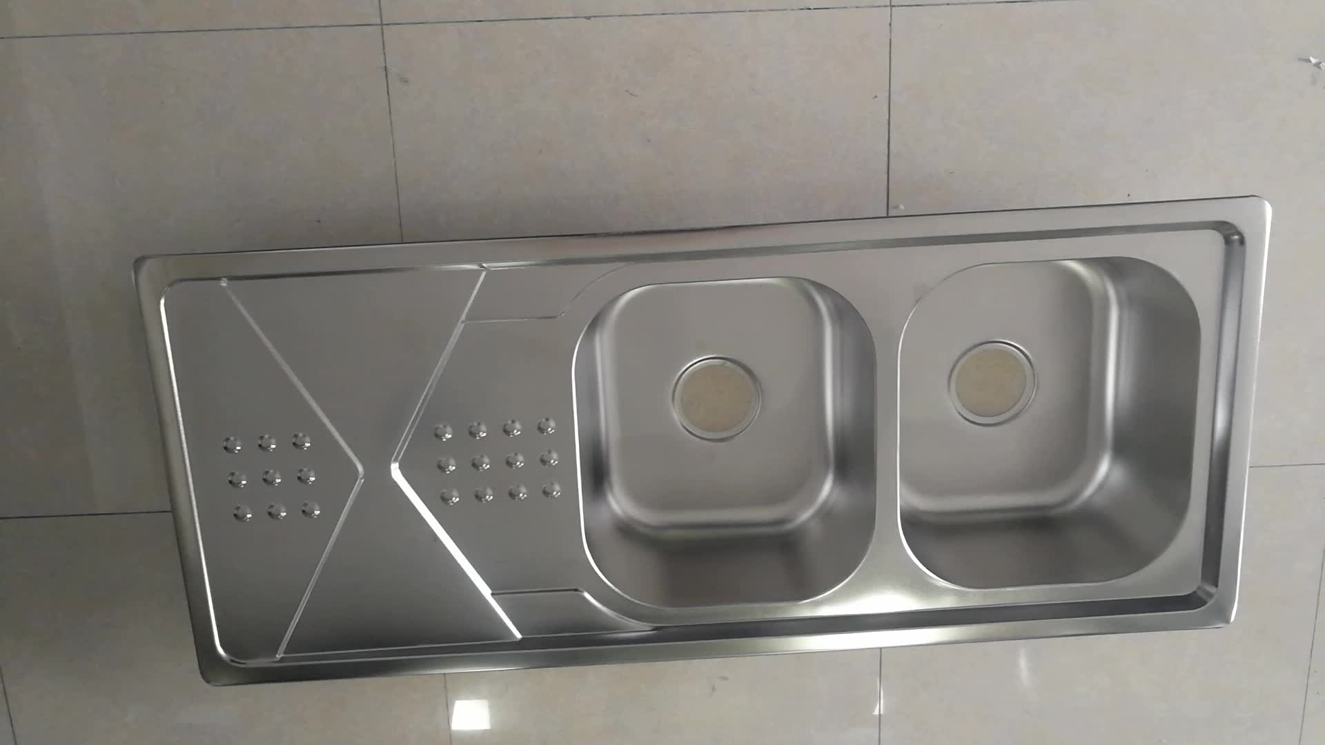 Iran Maket Stainless Steel Double Bowl Single Drainboard