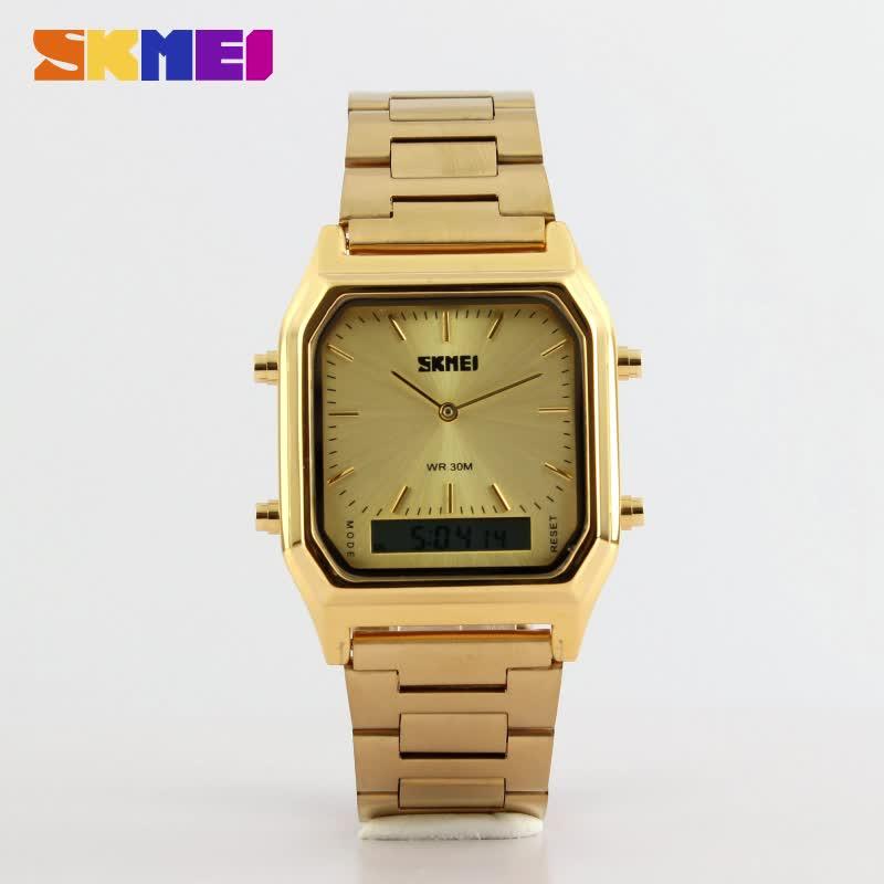 saat 1220 stylish skmei gold wristwatches men women timepiece digital watch