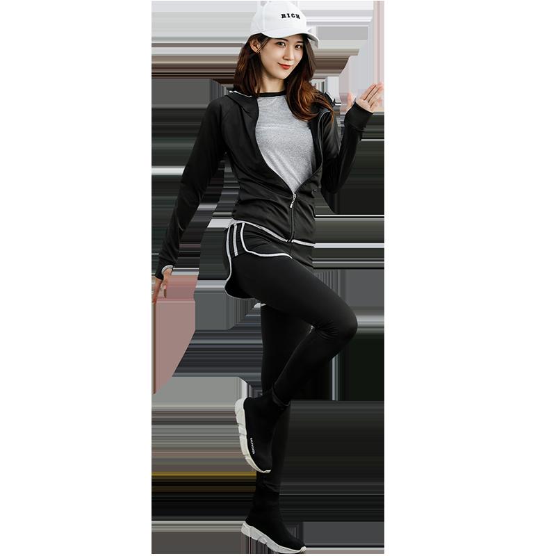 运动套装女2018秋冬新款瑜伽服健身房跑步宽松速干衣专业健身服女