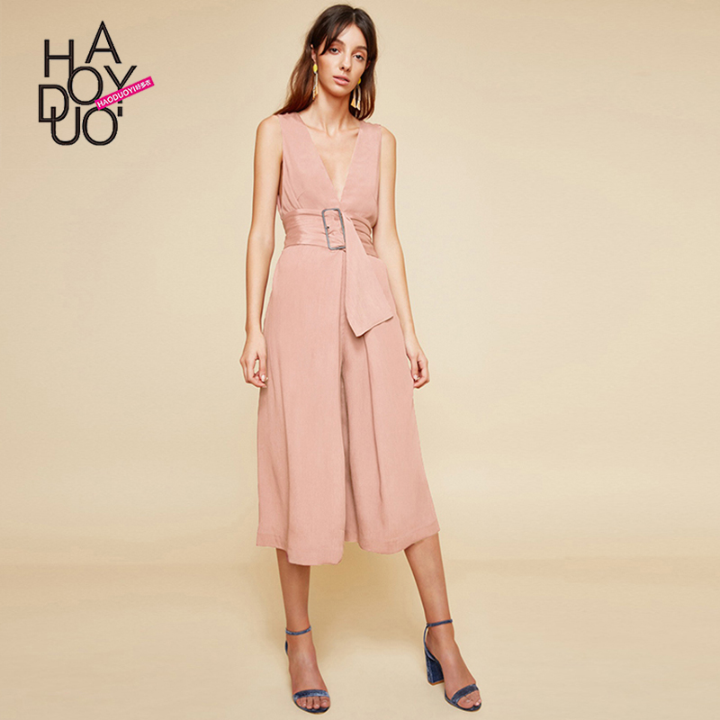 2583b93c466 ... Autumn professional ol women s clothing tide. RM 68.87. Haoduoyi  commuter ol cold atmosphere Quality deep V dew back sleeveless waist buckle  vertical ...