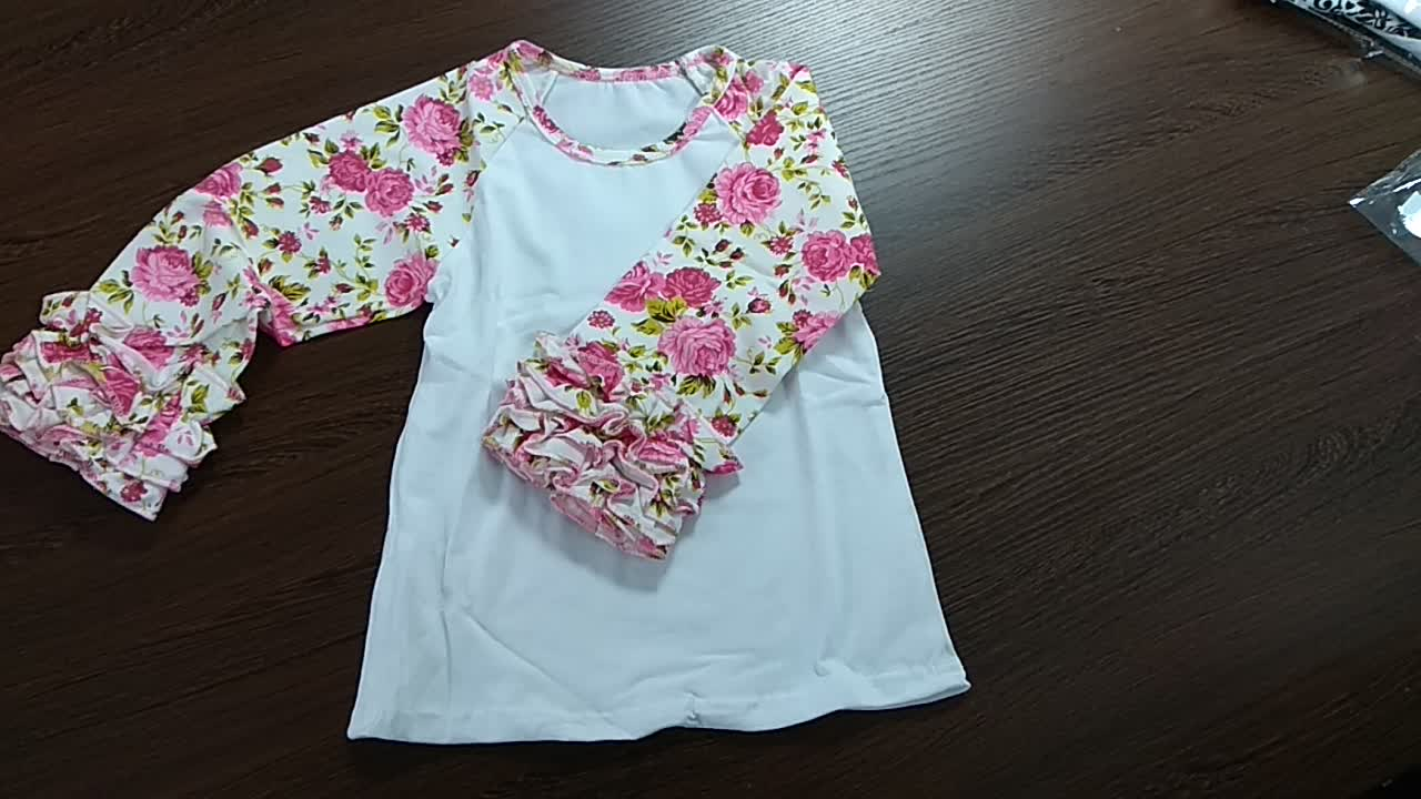Autumn 3/4 long sleeve ruffle raglan girl shirts maple leaf print icing sleeve top round edge bottom unique t-shirts